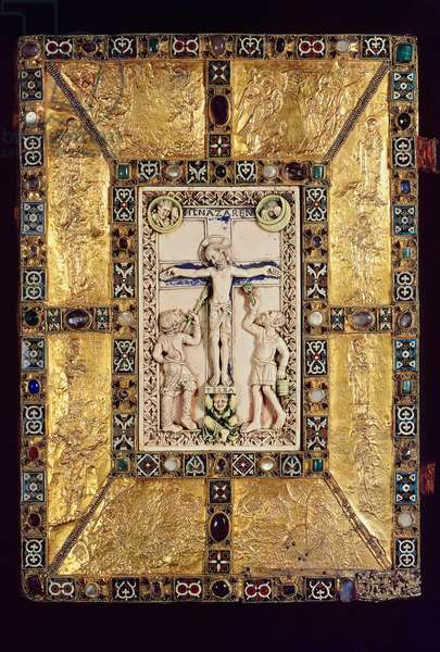 Cover of the Trier 'Codex Aureus', c.983-991 (gold plate, precious stones, pearls and enamel mounted on oak)