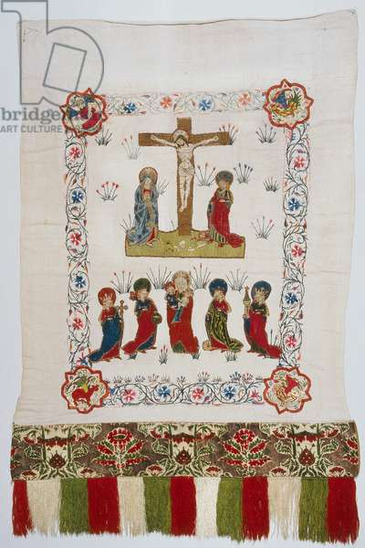 Altar banner depiciting the Crucifixion and female saints (textile)