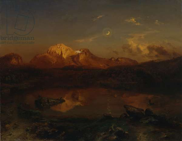 Hoher Goell in Alpine Glow, 1864 (oil on canvas)