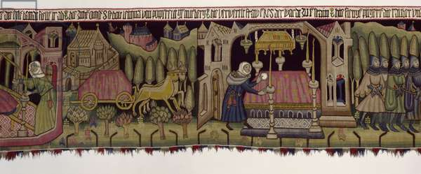 Picture carpet with scenes from the legend of St. Sebald, from Nuremberg, c.1425 (textile) (see also 283932)