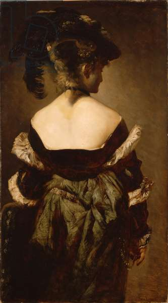 Portrait of a lady with a feathered hat, seen from the back, 1874-75 (oil on canvas)