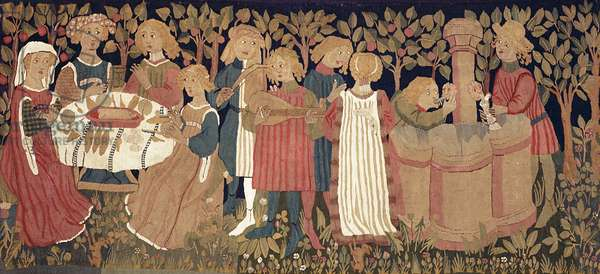 Picture carpet depicting a lovers' garden, from Nuremberg, c.1450-60 (textile)