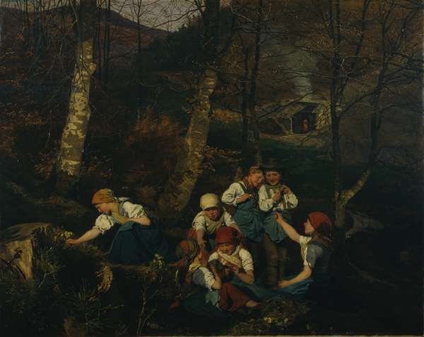 Children in a forest, 1858 (oil on panel)