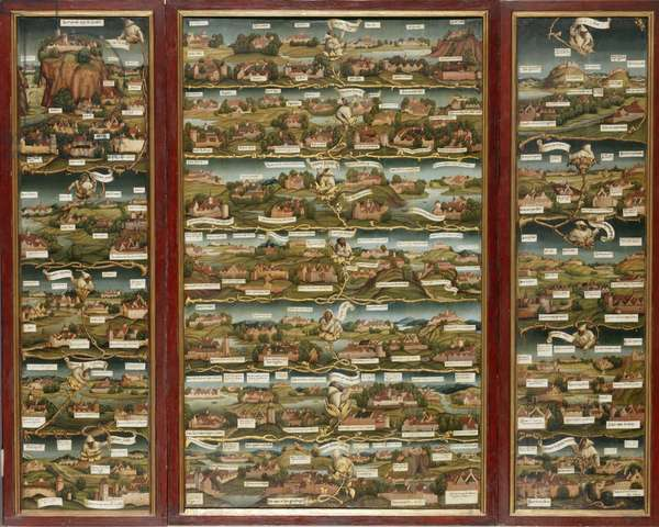 Triptych showing the dissemination of Carthusian monasteries, c.1512/13 (oil on panel)