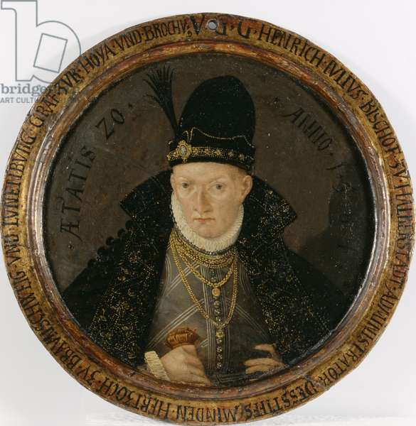 Portrait of Duke Heinrich Julius von Braunschweig-Lueneburg-Wolfenbuettel, 1584 (painted wood)
