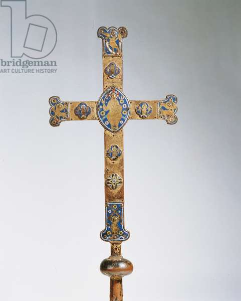 Portable cross, from Limoges, c.1200 (copper, gilt, enamel and precious stones)