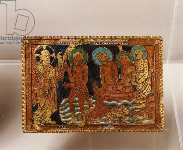 Enamel plate depicting Peter walking on water, c.1170-80 (copper, gilt and enamel)