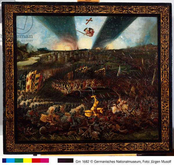The Victory of Charlemagne over the Avars near Regensburg, 1518 (oil on panel)