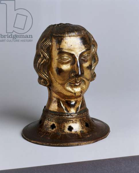 Reliquary of St. Gonsaldus in the shape of a head, from Limoges, c.1320 (copper & gilt)