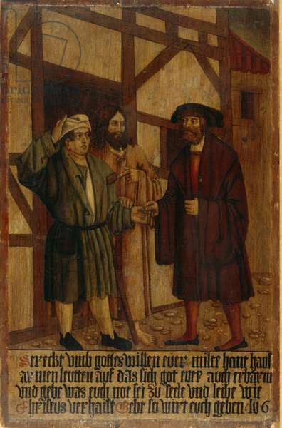 Alms Giving, c.1530-35 (oil on panel)