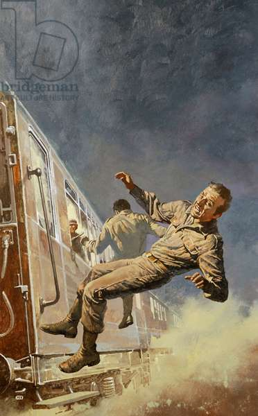 Falling from the Train (colour litho)