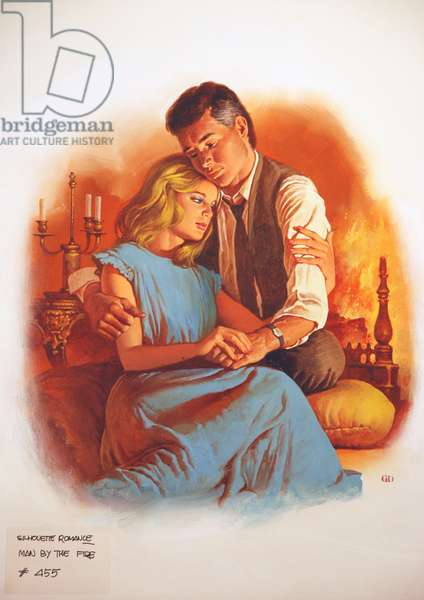 Silhouette Romance, Man by the Fire (colour litho)