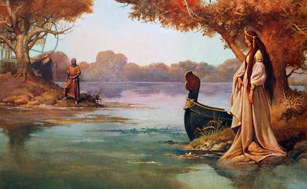 The Lady of the Lake, illustration from 'King Arthur's Story', 1981 (colour litho)