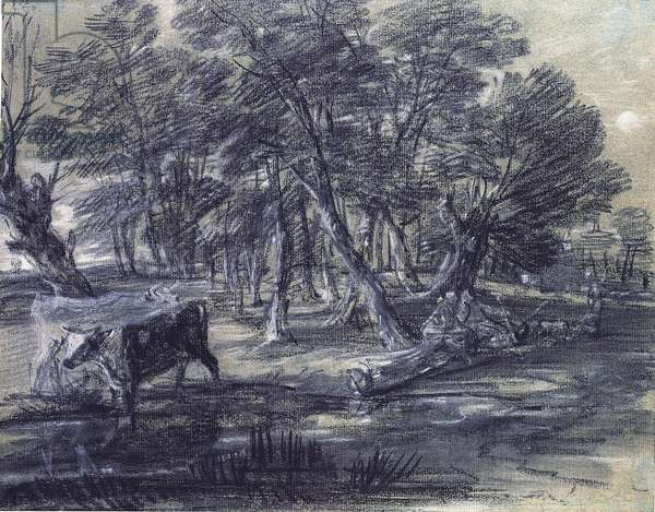 Wooded Landscape with Figures and Cattle at a Pool, c.1778 (black & white chalk with stump on paper)