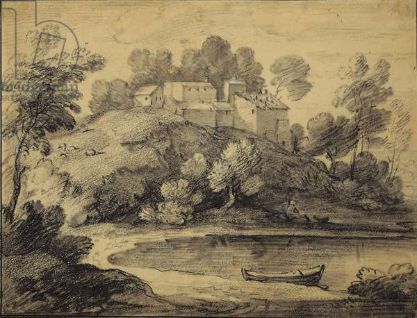 Wooded Landscape with Buildings, Lake and Rowing Boat, c.1786 (black chalk & stump with white chalk on paper)