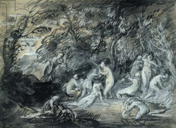 Study for Diana and Actaeon, c.1784 (black & white chalk with grey & grey-black washes & gouache with oil paint on buff paper)