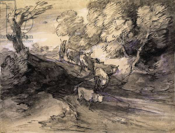 Wooded Landscape with Herdsman and Cattle, c.1775 (pen & ink, black chalk, grey & grey-black washes & white chalk on paper)