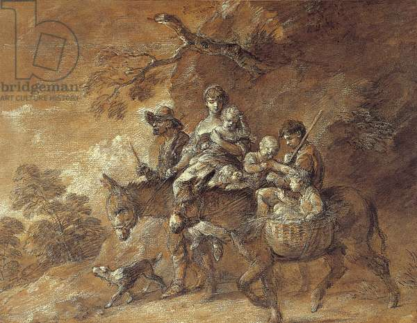 Peasants going to Market, 1770-74 (black & white chalk, stump with grey & brown washes, with white heightening & gouache on prepared brown paper)
