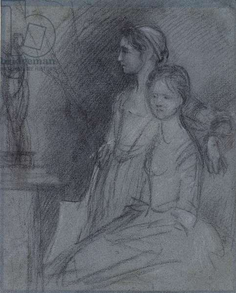 Study of the Artist's Daughters, c.1763 (black & white chalks on blue paper)