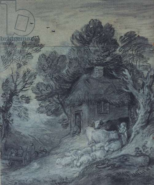 Wooded Landscape with Cottage, Peasant, Cows and Sheep, and Cart Travelling Down a Slope, 1777-78 (black chalk & stump heightened with chalk on two pieces, one grey, the other washed to match)