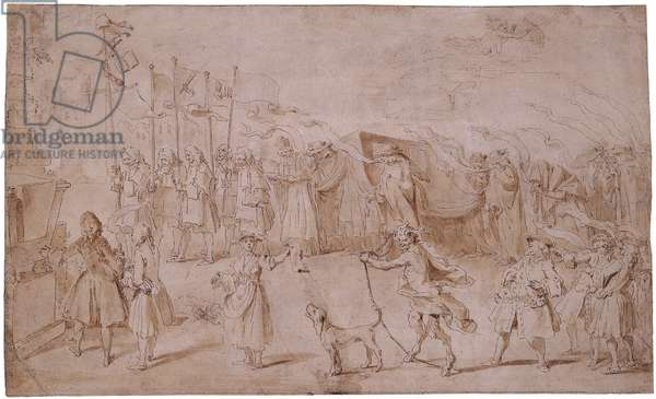 Design of The Funeral of Faction, 1741 (pen & brown ink with wash on paper)