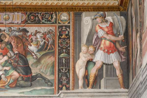 Battle of the Eagle; two warriors; two putti, c.1545-1548 (fresco)