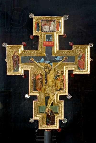 Jesus Christ crucified; Madonna dolente; St. John the Evangelist; St. Mary Magdalene; St. Paul; St. Peter; St. John the Evangelist, c.1270-1310 (tempera on table; pasta vitreous; rock crystal)