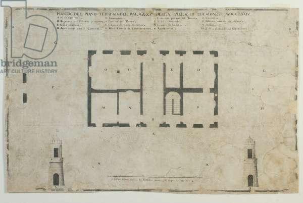 Ground floor plan of Villa del Bucajone, 1774 (ink and bistro on paper)