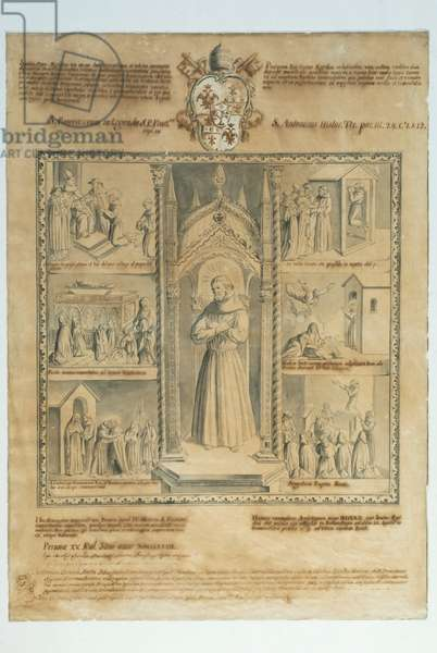 Blessed Aegidius; Colloquium with Gregory IX; Resurrection of the Maiden of Monte San Savino; Visit of St. Louis King of France; Ecstasy of the Blessed Aegidius; Miracle of Milk; Transit, 1777 (watercolour and china on paper)