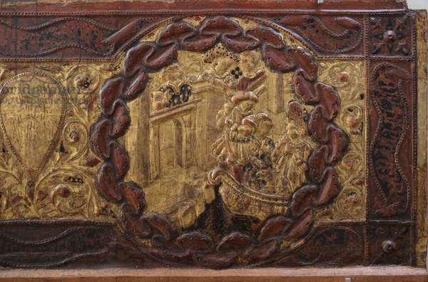 Stories of Alatiel (detail), c.1400-1450 (aspen wood with gilded and painted relief pad)
