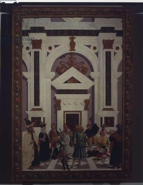 Saint Bernardino heals Nicholas of Lorenzo da Prato wounded by a bull