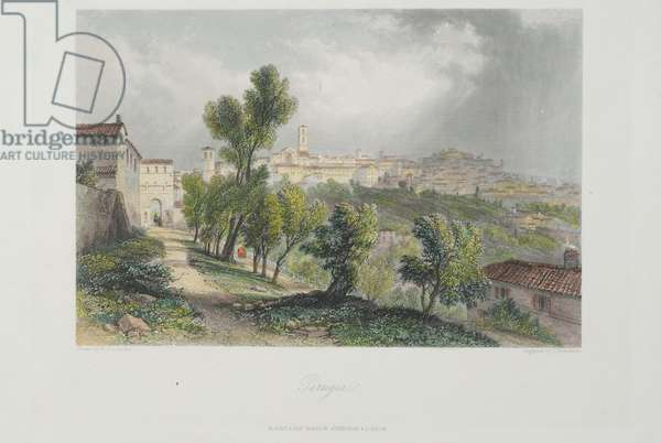 View of Perugia from Porta San Girolamo, c.1850 (print)