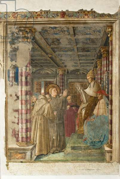 Dressing and profession in the Franciscan order of Saint Ludwig of Toulouse in the presence of Bonifaacio VIII, c.1455-1461 (fresco finished in dry)