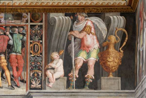 Arm receives the command staff of the armies of the church from John XXIII; two warriors; two putti, c.1545-1548 (fresco)