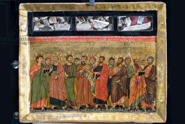Saint Stephen, Saint, Saint Gervasius, Saint Vincent (?), San Pantaleone, San Giovanni Chrysostomo, Sant'Erasmus, Saint (?), Saint Eustace, Saint Christopher, saint deacon, Saint Blaise, c.1270-1310 (tempera on panel)