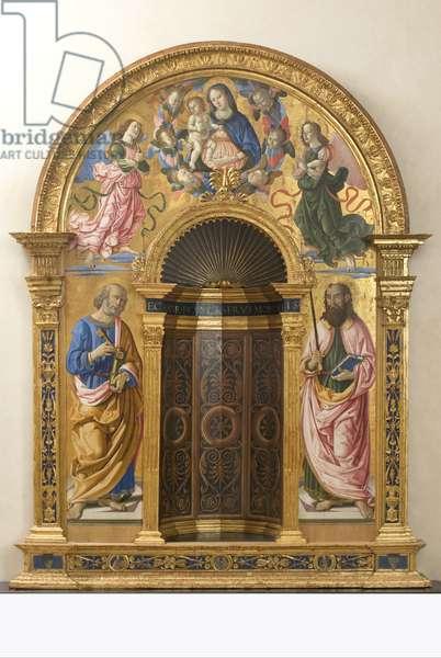 Niche of San Francesco al  Prato: Madonna with Child, Angels and Saints, 1487 (tempera on panel)