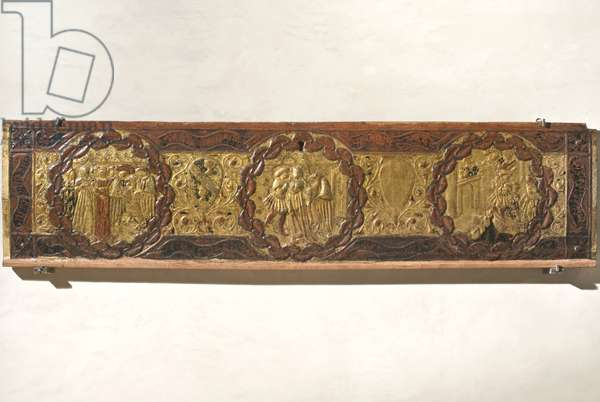 Wedding caisson front with stories of alatiel (poplar wood, gilding tablet, painting)