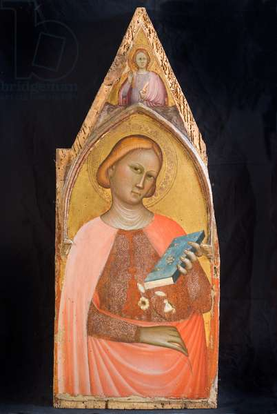 Saint with the lily, c.1350-1360 (gouache on board)