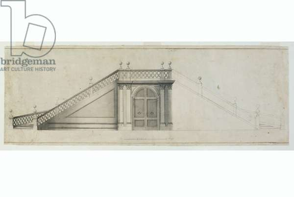 Prospectus of the staircase of the Villa del Bucajone, c.1770-1780 (ink on paper)