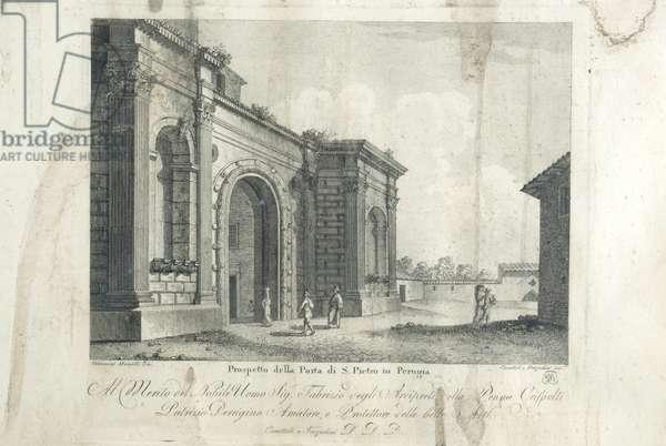 View of Porta San Pietro in Perugia 2/2, c.1900-1940 (engraving on copper)