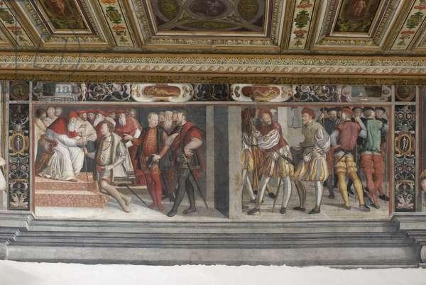 Braccio receiving the command staff of the church armies from John XXIII