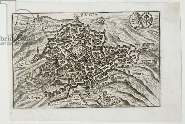 View of Perugia, c.1590-1630 (engraving on copper)
