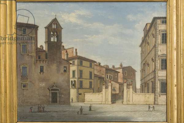 A view of the western side of the Rocca Paulina in Perugia, c.1860-75 (oil on canvas)