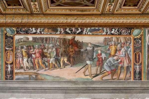 Arm crowned prince of Capua by Corrado Trinci in 1423; four warriors; quattro putti, c.1545-1548 (fresco)