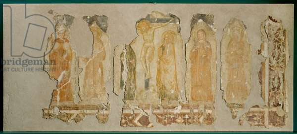 Jesus Christ crucified, Our Lady of Sorrows, St. John the Baptist, St. Clare of Assisi, St. Anthony of Padua, St. Francis of Assisi, St. Ludwig of Toulouse, c.1340-1360 (fresco)