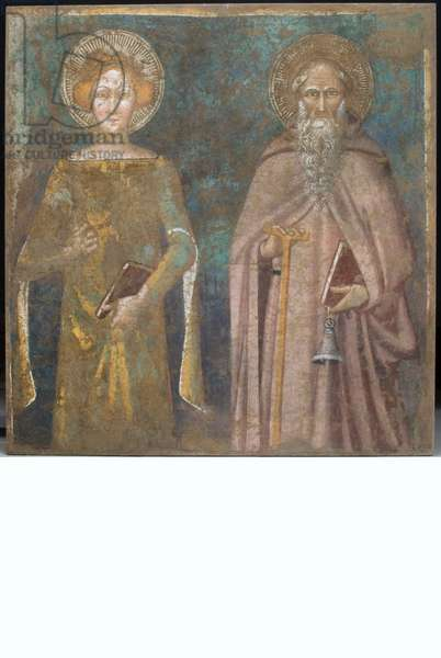 Saint Catherine of Alexandria and Saint Anthony abbot, c.1340-1360 (staccato fresco)