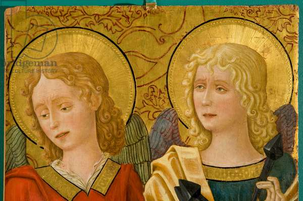 Angels with cartouche and instruments of passion, c.1470-1475 (gouache on board)