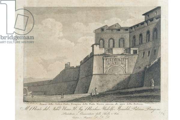 View of Porta Marzia della Rocca Paolina in Perugia, c.1900-1940 (engraving on copper)