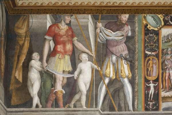Detail of painting depicting Braccio crowned Prince of Capua by Corrado Trinci in 1423 (fresco)
