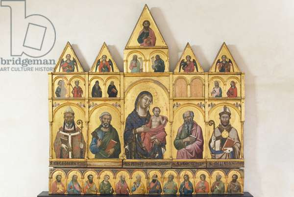 Madonna with Child and Saints Gregory the Great, Saint John the Evangelist, Saint Emilian Bishop, Angels, Saint Anthony Abbot, Saint Benedict, Saint Agnes, Saint Mary Magdalene, Angels, Prophets, Christ Blessing, 1315-18 (tempera on board)